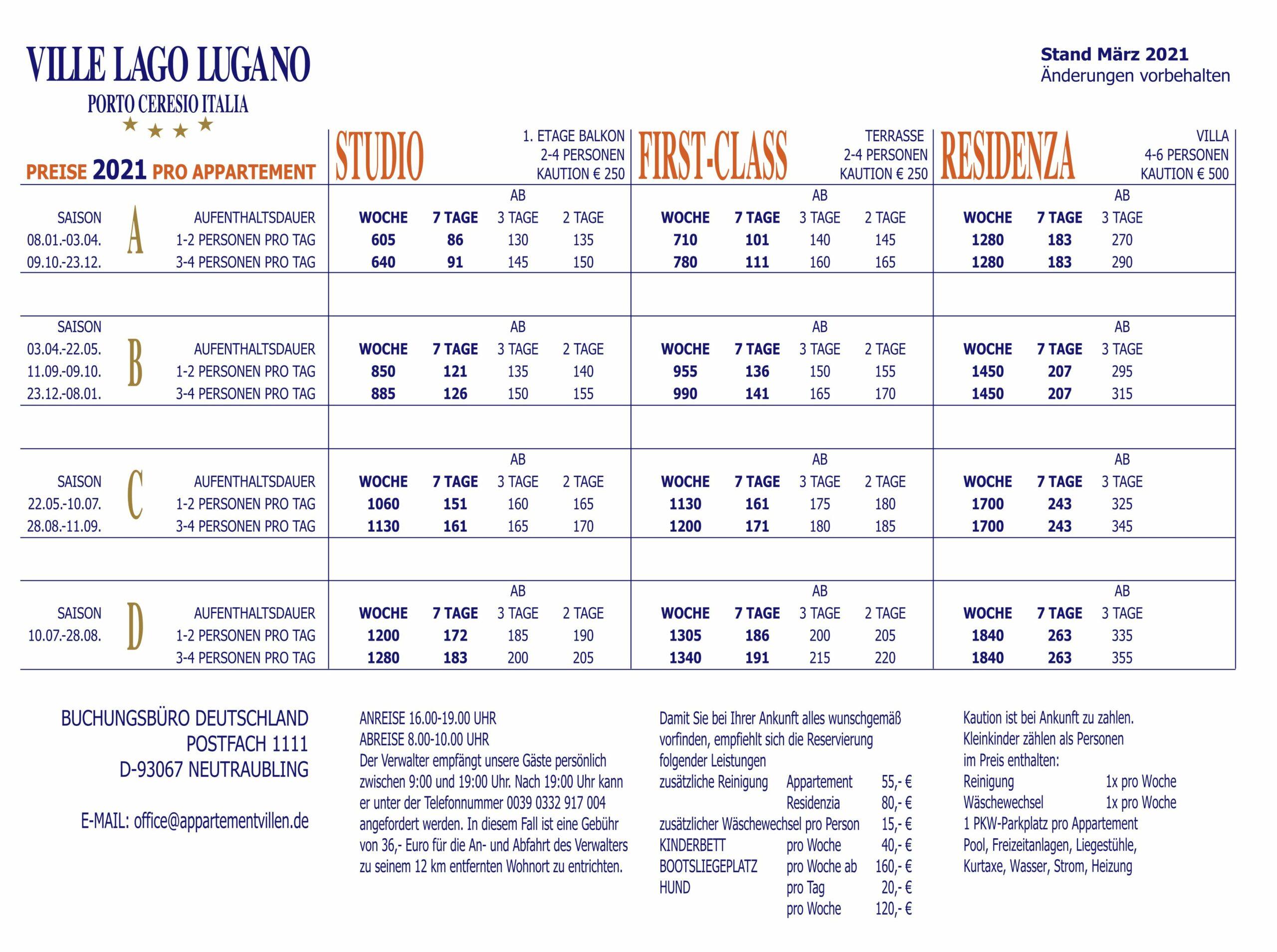 Ville Lago Lugano Preisliste 2021